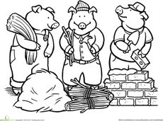 First Grade Fairy Tales Worksheets: Color the Three Little Pigs School Coloring Pages, Cartoon Coloring Pages, Colouring Pages, Coloring Worksheets, Traditional Tales, Traditional Stories, Three Little Pigs Story, Fairy Tale Theme, Barnyard Party