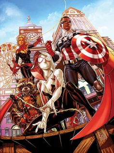 """Secret Wars variant cover - Spider-Gwen, All New Captain America, Captain Marvel, and Rocket Raccoon by Mark Brooks * """