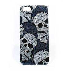 Iphone 5 hard cover fashion skull zwart/blauw