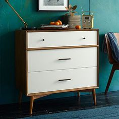 West Elm Mid-Century 3-Drawer Dresser - White + Acorn