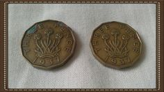 British coin  2 x 1937 three pence piece coin by brianspastimes