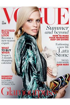 August 2015 - This month, Vogue has been published with two different covers. Lara Stone wears here a silk/Lurex top, £1,200, JW Anderson. Belt, £5 Misguided. Leather and suede clutch, £1,035, Paula Cademartori. Gold-plated earrings, £540, Giuseppe Zanotti Design. Hair: Sam McKnight. Make-up: Lucia Pica. Nails: Lorraine Griffin. Fashion editor: Lucinda Chambers. Photographer: Mario Testino.