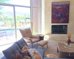 """Nina Weiss """"Prairie 22 Revisited"""" 60"""" X 48""""  Installed; Private Collector Palm Springs CA"""