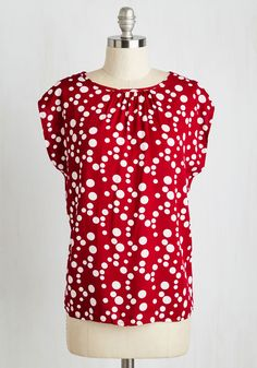 The Good, the Fab, the Bubbly Top - Red, Polka Dots, Print, Work, Casual, Short Sleeves, Woven, Good, Scoop, Mid-length