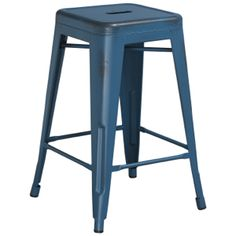 """Tolix Style Industrial Distressed Counter Stool- Backless- 24"""" High, Tabouret-Tolix Style Stools : Chairs Direct Seating"""