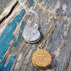 Silver Druzy Necklace Crystal Stone Bridal by redtruckdesigns
