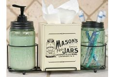 Mason Jar Bathroom Caddy Set - From Antiquefarmhouse.com - http://www.antiquefarmhouse.com/past/gifts2/mason-jar-bathroom-caddy.html