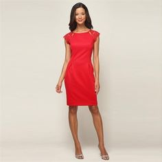 Alex Evenings Petite Sheath Dress with Lace Illusion Sleeves #VonMaur #AlexEvenings #Red #Lace #Floral #CapSleeves