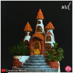 Diy Crafts Hacks, Diy Home Crafts, Diy Arts And Crafts, Creative Crafts, Clay Crafts, Fun Crafts, Fairy House Crafts, Clay Fairy House, Glass Bottle Crafts
