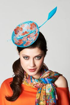 Feel peachy with this flowery blue and orange sinamay fascinator on aliceband - ATLANTA - new handmade -  Peach blossom in clear blue sky - www.facebook.com/vaneastwoodhats