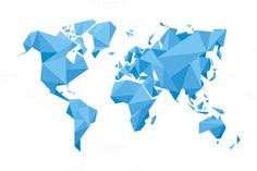 Illustration about Abstract World Map - Vector illustration - Geometric Structure in blue color for presentation, booklet, website and other design projects. Illustration of digital, abstract, asia - 41384572 Business Illustration, Pencil Illustration, Graphic Illustration, Map Illustrations, Free Printable World Map, World Map Outline, Karten Tattoos, World Map Design, World Map Art
