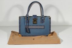 LOUIS VUITTON Blue SUHALI Leather LE FABULEUX Satchel TOTE HANDBAG