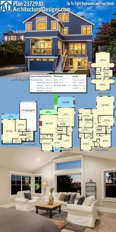 Architectural Designs House Plan 23729JD Shines With Charm! Flexible With  Up To 8 Bedrooms,