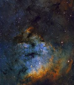 Oct 2010 NGC 7822 in Cepheus  Credit & Copyright: Neil Fleming Pillars of gas, dust, and young, hot stars seem to fill the gaping maw of NGC 7822. At the edge of a giant molecular cloud toward the northern constellation Cepheus, the glowing star forming region lies about 3,000 light-years away. Within the nebula, bright edges and dark shapes are highlighted in this colorful skyscape. The image includes data from both broadband and narrowband filters, mapping emission from...