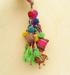 Hmong Tribal Textile Purse Charm/Dangle with tassels by midgetgems, $12.99