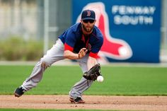 Boston Red Sox second baseman Dustin Pedroia fields a ball during a baseball spring training in Fort Myers, Fla., Wednesday, Feb. 25, 2015. (AP Photo/Naples Daily News, Corey Perrine) Boston Red Sox Team Photos - ESPN