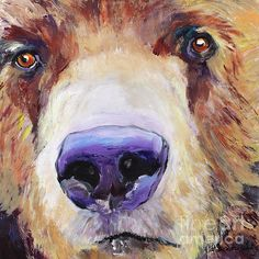 """A magnificent 24 x 24"""" macro look at a young Grizzly bear. The energy and power of this painting comes from painting with my hands!"""