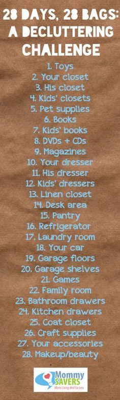 28 Days, 28 Bags ~ A Decluttering Challenge.hmmm cool way to get rid of things and help declutter the house