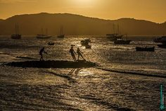 Orla Bardot Búzios - Rio de Janeiro Brasil. http://ift.tt/1TQK3He  #buzios #bardot #orla #coastside #fisherman #sunset #twilight #dawn #sun #yellow #boat #sea #hill #texture