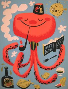 octopus illustration by Gama Go Octopus Illustration, Children's Book Illustration, Design Graphique, Ocean Art, Creative Art, Bunt, Illustrations Posters, Art For Kids, Graphic Art