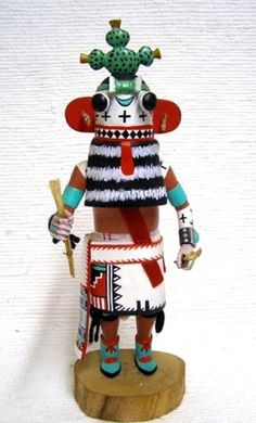 """Hopi Carved 13.5"""" Prickly Pear Cactus Kachina Doll Sculpture by Everett Curley"""