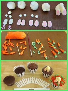 70 ideas for cupcakes decoration fondant animals Fondant Toppers, Fondant Cakes, Cupcake Cakes, Cake Decorating Techniques, Cake Decorating Tips, Easter Cookies, Easter Treats, Oster Cupcakes, Decors Pate A Sucre