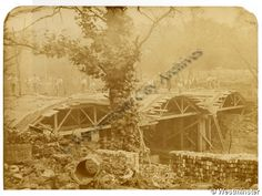 "Caption: ""View of the rebuilding of Macclesfield Bridge, Regent's Canal, after explosion of canal barge"""