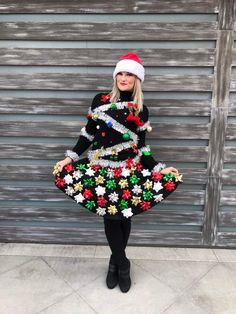 Christmas Tree Ugly Sweater, Christmas Sweaters For Women, Ugly Sweater Party, Christmas Bows, Christmas Tree Costume Diy, Ugly Sweaters Diy, Ugly Sweater Contest, Christmas Skirt, Christmas Clothes