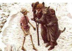 Pinocchio con il Gatto e la Volpe simbolo di Desiderio e Mente inferiore  illustrazione di Roberto Innocenti   www.meditazionegnostica.it