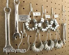 Load up old-fashioned shower curtain rings ($2 for a 12-pack at a home center) with nuts and washers, add a tape label and hang them near the wrenches on your pegboard.