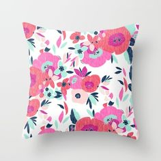 Buy Janis Poppy Ikat Floral Throw Pillow $20. Worldwide shipping available at Society6.com/crystalwalen Just one of millions of high quality products available.