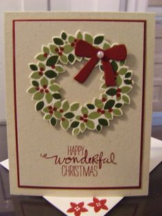 *Stampin' Up, by Amy Frillici, Gathering Inkspiration Stamp Studio, order products online at amysuzanne.stampinup.net, Holiday Card, wondrous wreath stamp set and framelits