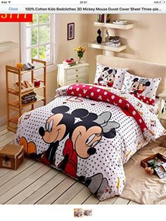 Cartoon Disney Print Bedding Set Cotton Rosy Polka Dot Mickey and Minnie Mouse Bedclothes Duvet Cover Girls Bedroom Decor Single Minnie Mouse Bedding, Disney Bedding, Kids Bedding Sets, Comforter Sets, Adult Bedroom Decor, Girls Bedroom, Casa Disney, Polka Dot Bedding, Bed Sets