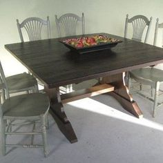 Square rustic table for dining room, seating for 8, but with pedestal base and in distressed black paint: surround with customer's existing modern-style, black chairs