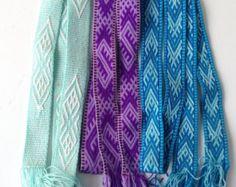Tablet Weaving  Belt, Purple Loom woven belt, Folklore costume, Inkle Weaving belt, Gift for her, Mint long skinny belt, Purple Celtic Belt by blingscarves. Explore more products on http://blingscarves.etsy.com