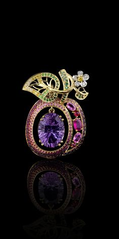 - Collection - Fruits and berries 18 k yellow and whirte gold,diamonds,yellow diamonds,pink sapphire,amethyst and demantoids
