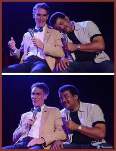 Bill Nye + Neil deGrasse Tyson... the look on Neil's face is priceless.