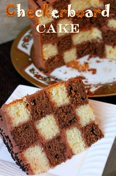 YUMMY TUMMY: Checkerboard Cake Recipe / Vanilla & Chocolate Checkerboard Cake Recipe