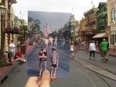 Photograph a place you have already been...hold a photo of past visit while taking current photo