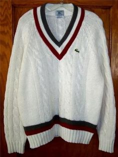vintage 70s izod LACOSTE sweater v-neck tennis stripes white green ...