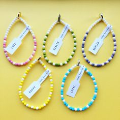 Pretty pastels - our #danalevy morse code blessing glass bead bracelets are available in pastel shades as well as brights & monochrome - blessings available: health, wealth, happiness, love & loyalty 💛