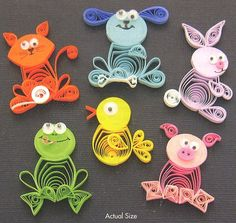 Quilled animals - cat, dog, bunny, frog, chick, pig  http://michellecoffey.deviantart.com/art/Quilled-animals-2-127908284