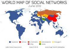 World Map of Social Networks - june 2012. Showing the most popular social networking sites by country, according to Alexa & Google Trends for Websites traffic data.