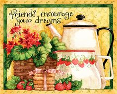 Lang Abundant Friendship 2016 Wall Calendar by Diane Knott, January 2016 to December x 24 Inches Art Calendar, 2016 Calendar, Wall Calendars, Art Friend, Tea Art, Country Crafts, My Favorite Image, Illustrations, Journal Cards