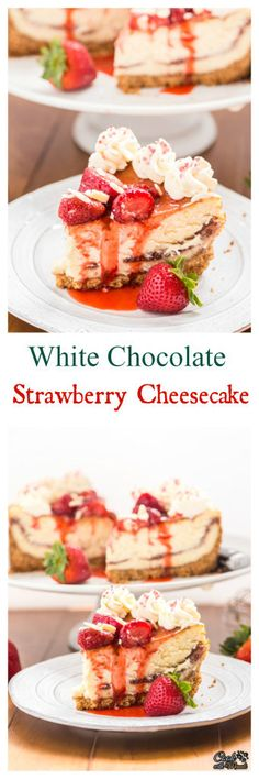 Decadent, indulgent White Chocolate Strawberry Cheesecake is the perfect dessert to celebrate! Find the recipe on www.cookwithmanali.com