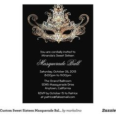 Custom Sweet Sixteen Masquerade Ball Invitations ($2.22) ❤ liked on Polyvore featuring home and home decor