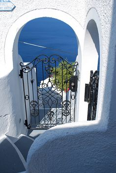 Stairs to Aegean Sea, Santorin, Greece
