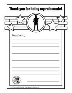 OWH's Free coloring pages & space for children to write to service members overseas