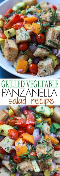 An incredible Grilled Vegetable Panzanella Salad filled with crunchy ciabatta bread, charred vegetables, fresh basil, and sweet balsamic vinaigrette! This salad, is light, refreshing, and totally swoon worthy! | joyfulhealthyeats.com