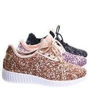 Remy18k Rose Gold Lace up Rock Glitter Fashion Sneaker For Children / Girl / Kids -13
